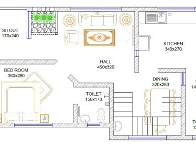 2.8cent 2 side road land with 1400sqft 3bhk plan