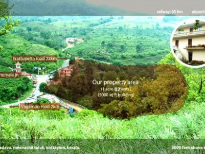 1 acre land with 5000 sq ft building for sale at vagamon for 5000 sq ft to acres