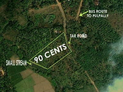 90 CENTS RIVER SHORE PROPERTY WITH TAR ROAD FRONTAGE NEAR KENICHIRA, WAYANAD FOR 37.5 LAKHS